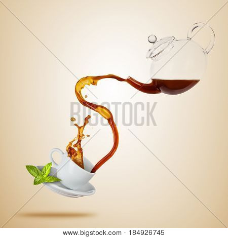 Porcelain white cup with splashing tea from jug, separated on brown background. Hot drink with splash, beverages and refreshment. Copyspace for text.