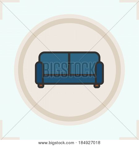 Couch color icon. Upholstered blue sofa. Isolated vector illustration