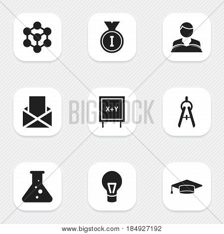 Set Of 9 Editable University Icons. Includes Symbols Such As First Place, Chemistry, Lamp And More. Can Be Used For Web, Mobile, UI And Infographic Design.