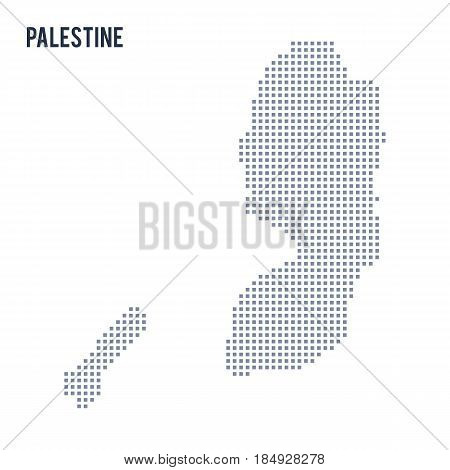 Vector Pixel Map Of Palestine Isolated On White Background