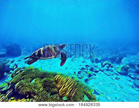 Blue sea water with green turtle. Marine animal digital illustration. Coral reef bottom and sea turtle. Oceanic animal species in wild nature. Snorkeling with tortoise underwater banner template.