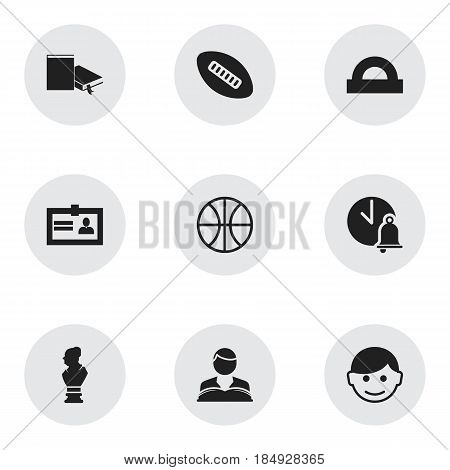 Set Of 9 Editable School Icons. Includes Symbols Such As Oval Ball, Certification, Basket Play And More. Can Be Used For Web, Mobile, UI And Infographic Design.