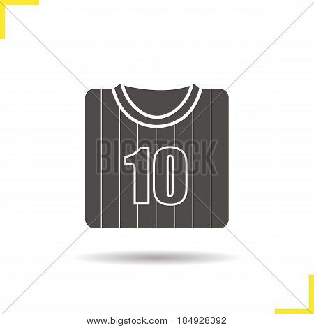 Soccer player's shirt glyph icon. Drop shadow silhouette symbol. Football player's t-shirt. Negative space. Vector isolated illustration
