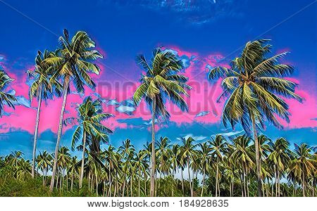 Tropical sunset landscape with palm trees. Exotic island digital painting. Beautiful tropical nature. Coco palm trees on sky background. Party or wedding card backdrop. Tropic scene with coconut palms