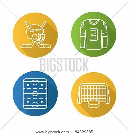 Hockey flat linear long shadow icons set. Sticks and helmet, rink, shirt, puck in gates. Vector line illustration