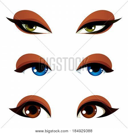 Vector Female Eyes Collection In Different Emotion With Blue, Brown And Green Eye Iris. Women Eyes W