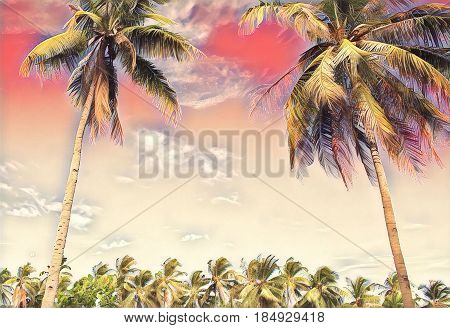Romantic pink tropical landscape with palm trees. Sunset on exotic island. Beautiful tropical nature. Coco palm trees on sky background. Party or wedding card backdrop. Tropic scene with coconut palms
