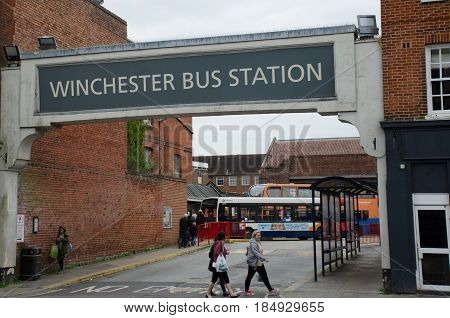 Winchester United Kingdom -21 April 2017: Bus station sign above Winchester Bus Station
