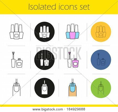 Manicure icons set. Linear, black and color styles. Nail polish bottles, nail polishing procedure. Isolated vector illustrations