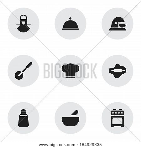Set Of 9 Editable Food Icons. Includes Symbols Such As Cook Cap, Soup, Paprika And More. Can Be Used For Web, Mobile, UI And Infographic Design.