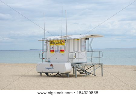 Poole Dorset United Kingdom -24 April 2017: Lifeguard station on beach