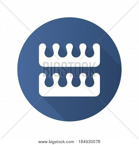 Manicure and pedicure fingers and toes separators. Flat design long shadow icon. Vector silhouette symbol