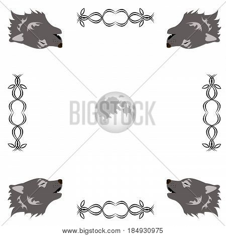 Wolf howling at the moon circle ornament on white background
