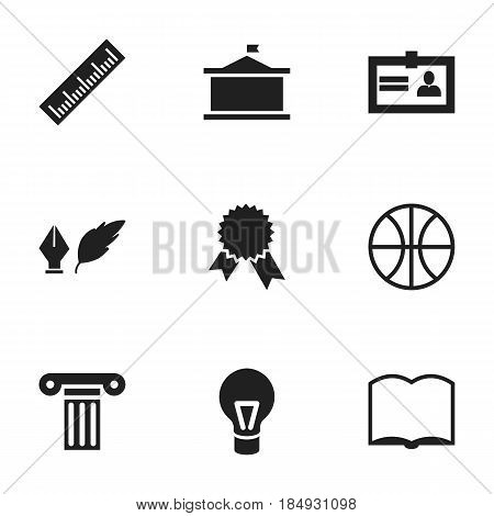 Set Of 9 Editable Science Icons. Includes Symbols Such As Pillar, Univercity, Lamp And More. Can Be Used For Web, Mobile, UI And Infographic Design.