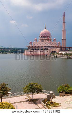 Pink Putra Mosque during the daytime, Putrajaya, Malaysia
