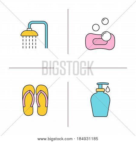 Spa salon color icons set. Spa salon shower, flip flops, sponge with bubbles, shower gel with drop. Isolated vector illustrations