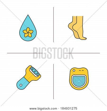 Spa salon color icons set. Aromatherapy oil drop, woman's feet, spa salon bath, foot file. Isolated vector illustrations