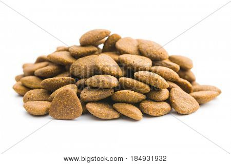 Dry kibble dog food isolated on white background. poster