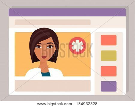 Doctor online. Medical consultation, internet health service. Vector illustration
