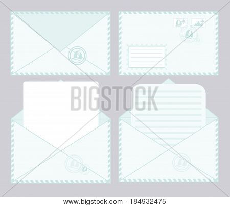 set of closed and open envelopes. concept of analysis correspondence, spam and personal communication. isolated on stylish background. flat style modern design vector illustration