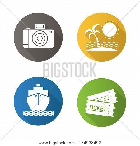 Travel and tourism flat design long shadow icons set. Tropical island with palm and sea waves, photo camera, cruise ship, trip tickets. Vector silhouette illustration