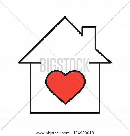 Lovers home linear icon. Thin line illustration. Family house with heart shape inside contour symbol. Vector isolated outline drawing