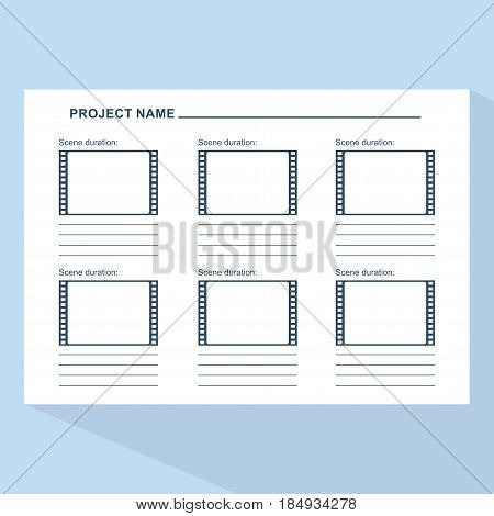 Storyboard Template On Blue
