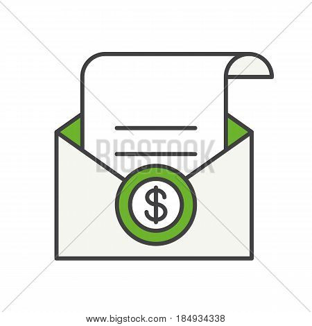Salary color icon. Check in open envelope. Isolated vector illustrations
