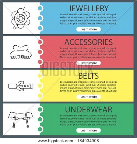 Women's accessories banner templates set. Brooch, claw hair clip, leather belt, underwear garters. Website menu items with linear icons. Color web banner. Vector headers design concepts