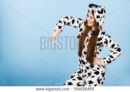 Woman Wearing Pajamas Cartoon Pointing Down