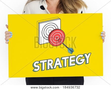 Woman holding a placard with bull's eye strategy graphic