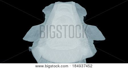 Sanitary Napkin White Color On Black Background.