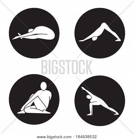 Yoga asanas icons set. Paschimottanasana, adho mukha svanasana, ardha matsyendrasana, utthita parsvakonasana yoga positions. Vector white silhouettes illustrations in black circles
