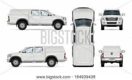 Pickup truck vector template for car branding and advertising. Isolated car on white background. All layers and groups well organized for easy editing and recolor. View from side front back top.
