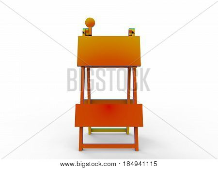 3d illustration of road barricade. white background isolated. icon for game web.