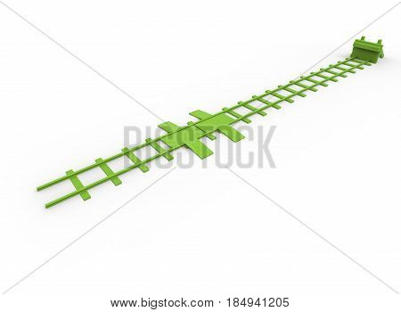 3d illustration of railway bumper. white background isolated. icon for game web.