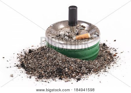 Ashtrays butts and ashes on a white background