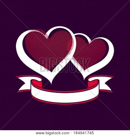 Valentine's day conceptual illustration - two loving hearts with decorative ribbon. Wedding couple romantic element best for use in graphic design.