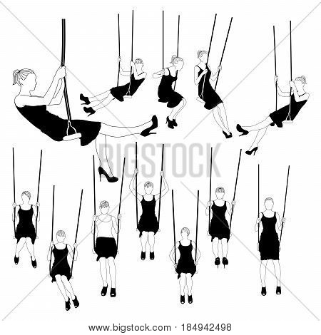 Women swinging on swing set vector illustration. Slim girl in different poses isolated on white background.