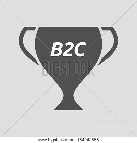 Illustration of an isolated award cup with the text B2C poster
