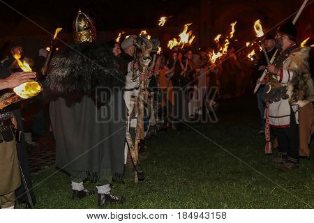 ALBA IULIA ROMANIA - APRIL 29 2017: Night scene with Roman soldiers in battle costume present at APULUM ROMAN FESTIVAL organized by the City Hall.