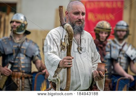 ALBA IULIA ROMANIA - APRIL 29 2017: Priest dac shows the ancients costum and rituals in one demonstration at APULUM ROMAN FESTIVAL organized by the City Hall.