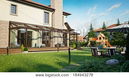 luxury family house with landscaping on the backyard double garage sauna barbecue gazebo large green lawn playground for children. 3d rendering
