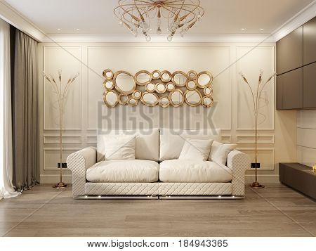 Modern Classic Beige Living Room Interior Design with Large Beige Sofa and Modern Fireplace with Gold Light Fixtures and Mirror. 3d rendering