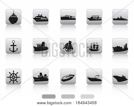 isolated ship boat icon buttons set on white background