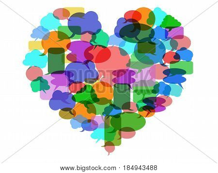 isolated color Speech bubble heart on white background