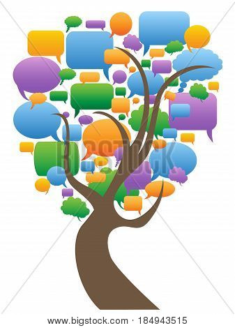isolated color speech bubbles tree on white background