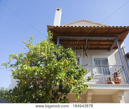 house with lemon tree and blue sky in Greek town of kardamili on peloponnese in spring