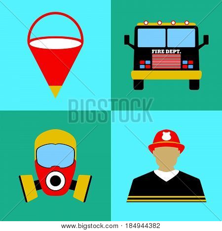 Firefighter Icon Set. Fire Departament Equipment Icons. Vector Illustration.
