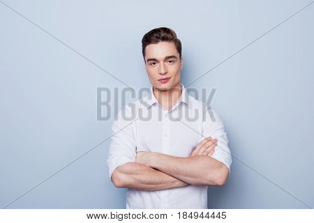 Ideal! Handsome Young Student With Perfect Hair  Is Standing On The Pure Light Background. He Is Suc